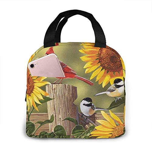 Bolsa de almuerzo de girasoles y pájaros cantores para mujeres,niñas,niños,bolsa de picnic aislada,bolsa gourmet,enfriador,bolsa cálida para trabajo escolar,oficina,camping,viajes,pesca