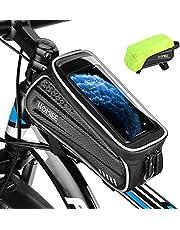 HOMIEE Fietsframetas Bike Frame Tas Waterdichte Fietstas voor Aan Stuur Touchscreen Sport Bike Bag, met regenhoes, voor mobiele telefoons onder de 6,5 inch