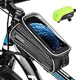 HOMIEE Bolsas de Bicicleta, Bolsa Impermeable para Cuadro, Accesorios Bicicletas Montaña Impermeable con Ventana para Pantalla Táctil, para iPhone, Samsung y Otros Smartphones