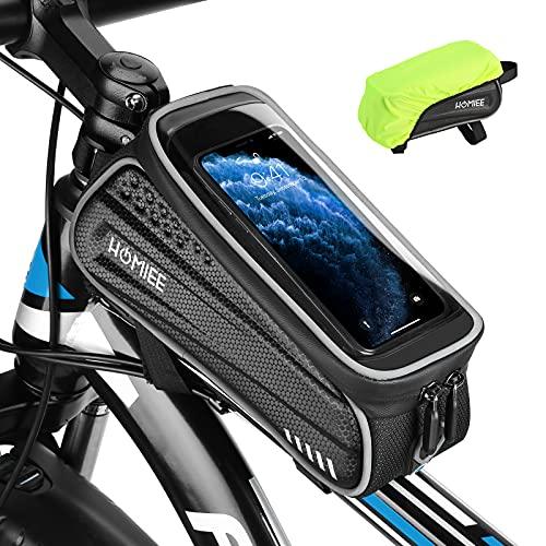 HOMIEE Borsa Telaio Bici Porta Cellulare, Borsa Manubrio Bici Touch Screen, Porta Oggetti per Biciclette, Borse Biciclette Accessori Bici con Parapioggia Adatto per Telefoni sotto 6.5 Pollici