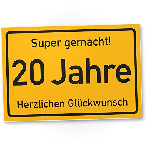 DankeDir! 20 Jahre Stadtschild/Kunststoff Schild - Geschenk 20. Geburtstag, Geschenkidee Geburtstagsgeschenk Zwanigsten, Geburtstagsdeko/Partydeko/Party Zubehör/Geburtstagskarte