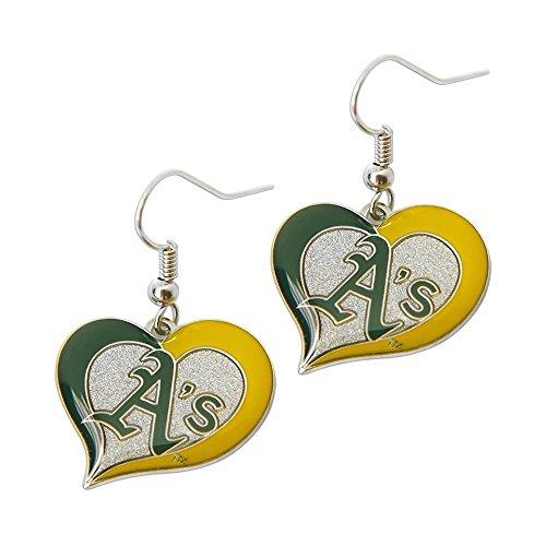 aminco MLB Oakland Athletic's Team Logo Swirl Heart Earring Sports Fan Gift Multi-Color One Size