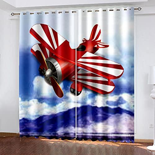 LWXBJX Cortinas Opacas de Salón Moderno Termicas - Azul Cielo avión Dibujos Animados - Impresión 3D Aislantes de Frío y Calor 90% Opacas Cortinas - 300 x 270 cm - Salon Cocina Habitacion Niño Moderna