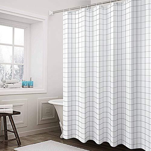 MStr Wasserdichter PEVA-Duschvorhang für Badezimmer, dicker Duschvorhang mit Haken, umweltfre&licher WC-Duschvorhänge, Heimdekoration, Weißes Quadrat, 120x200cm