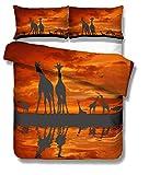 788 Housse de Couette Créatif Dessin 3D Animé Girafe Impressionniste Lever et Coucher de Soleil Naturel Paysage Rouge Jaune Parure de lit (Crépuscule, Lit Simple 140x200 cm 2 piezas)