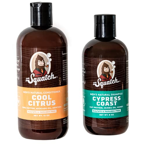 Dr. Squatch Citrus & Cypress Hair Care Kit – Men's Shampoo & Conditioner Set – Keeps Hair Looking Full, Healthy, Hydrated – Naturally Sourced with Organic Tea Tree Oil & Peppermint