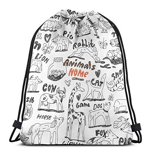 Animali - Doodles_1391 Borsa zaino con coulisse per bambini Ragazzi Ragazze Compleanno per adolescenti, Borsa per stringhe regalo Palestra Sacco da palestra per scuola e festa 14,2 x 16,9 pollici
