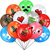 40 Pieces Pixelated Party Balloons, 12 Inch Double-Sided Mining Pixel Video Game Styled Birthday Decoration Latex Balloons for Indoor Outdoor Boys Girls Pixel Birthday Party Favors