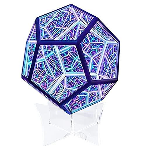 MSLing Luz de arte de Dodecaedro Infinito, Lámpara Decorativa de Carga USB, luz de Decoración de Cubierta de color, luz LED de Espacio en Espiral, Decoración de Escritorio para el Hogar