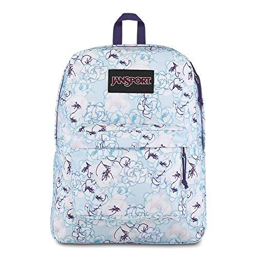 JanSport Black Label Superbreak Backpack - Lightweight School Bag | Blue Sketch Floral Print