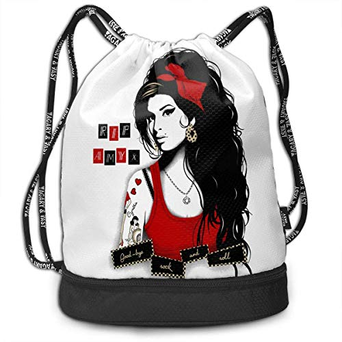 DJNGN Amy Winehouse Personalidad Poliéster Paquete Mochila Bolsa con cordón Bolsa de Deporte para Todos