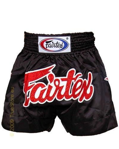 Fairtex Thai Short Black & Black Satin, Unisex, nero, XL