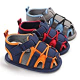 Isbasic Baby Boys Girls Summer Beach Breathable Athletic Closed-Toe Sandals Soft Sole Anti-Slip Toddler First Walker Shoes, A-grey&blue, 3-6 Months Infant