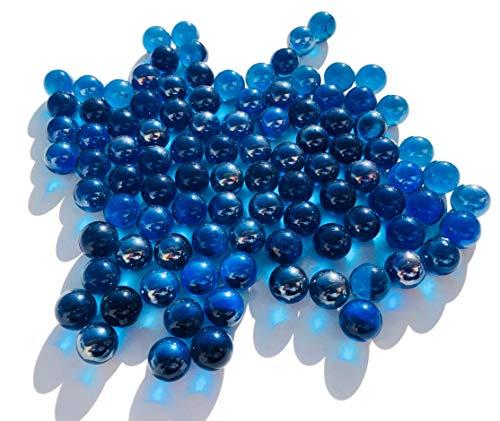CRYSTAL KING Dunkel Blaue Glasmurmeln Glaskugeln 16mm Durchmesser 500gr Dekokugeln durchsichtig Blaue klare Murmel Dekoglaskugel Dekoration Blaue Murmeln Glaskügelchen
