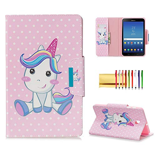 Case for Samsung Galaxy Tab A 8.0 2018 Model SM-T387, Techcircle Slim Folding Cute Pattern View Stand Flip Protective Cover with Card Slots Pocket Holder for Tab A 8.0 T387 (2018), My Pony