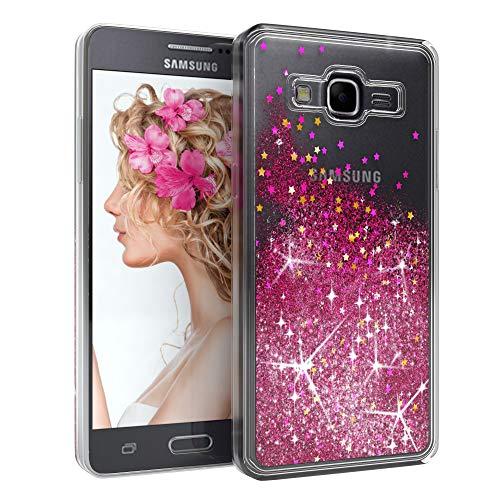 EAZY CASE Hülle kompatibel mit Samsung Galaxy Grand Prime Schutzhülle mit Flüssig-Glitzer, Handyhülle, Schutzhülle, Back Cover mit Glitter Flüssigkeit, aus TPU/Silikon, Transparent/Durchsichtig, Pink