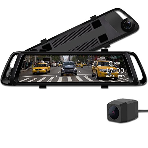EHOOM A10 9.88' Full Touch Screen HD Mirror Dash Camera, Dual Lens Reversing Backup Cam, Car DVR with FHD 1080P Front Cam and HD 720P Rear Cam, Super Night Vision, WDR, HDR, Zero Blind Area - Black