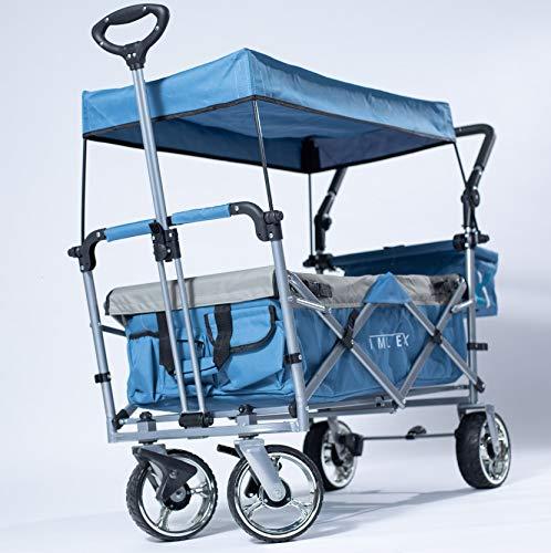 IMLEX Bollerwagen IM-4268 zweiFarbig Blau/Grau mit Schiebe und Zieh Funktion mit Breiten Verchromter Räder, integrierten 2 Anschnallgurten und Klappbaren Hecktasche