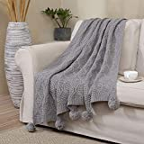 Haperlare Pom Pom Knitted Throw Blanket Warm Throws Decorative Blanket for Sofas Bed Couch Woven Knitting Throw Blanket with Pom Pom Tassels, Grey, 50 x 60 Inch