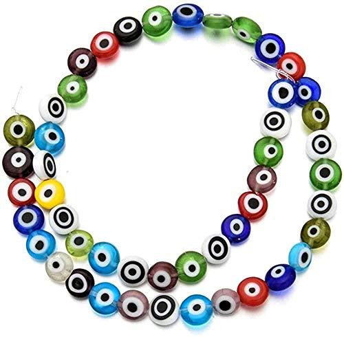 ZGYFJCH Co.,ltd Collar al por Mayor 50Pcs Turquía Blue Evil Eyes Beads DIY Jewelry Making Flat Transparente Glass Spacer Bead para Pulsera Collar Accesorios Material 8Mm