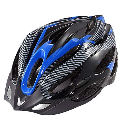 YATT Casco De Bicicleta, 21 Hoyos Cómodo Moldeado De Una Pieza Transpirable con Visera Tamaño Ajustable Casco De Bicicleta Azul para Montar En Carretera Unisex