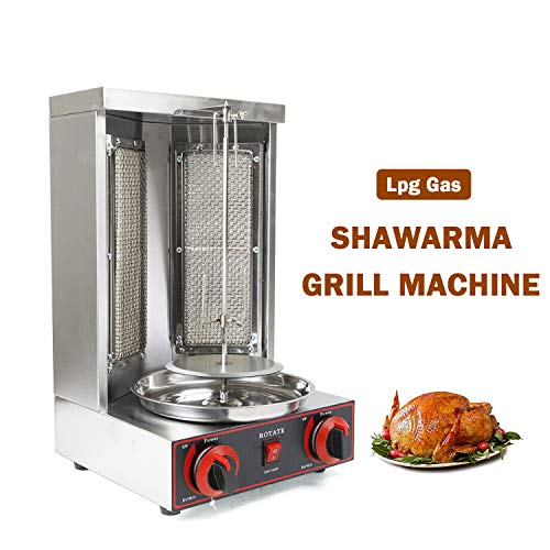 Doner Kebab Grill Machine Shawarma Gyro Machine Vertical Broiler 11 lbs Capacity Lpg Gas Home Restaurant Use