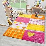 SANAT Teppich Kinderzimmer - Rosa/Orange Kinderteppich für Mädchen und Jungen Öko-Tex 100 Zertifiziert, Größe: 120x170cm