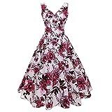 YLDCN Ropa para Mujer Vestido Plisado De Verano con Cuello En V Floral Vintage para Mujer-Red_M