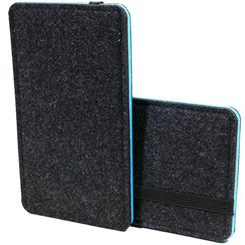 Handyhülle für Gigaset GS3 GS4 Handytasche Filz Smartphonetasche Schutzhülle, Grau, Blau