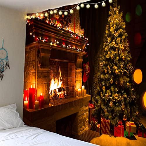 Arazzo appeso a parete decorato albero di Natale camino calzini regalo arazzo sfondo coperta di stoffa A3 73x95 cm