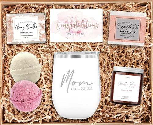 New Mom Gift Set - Mom Est 2022 Tumbler - New Mommy Spa Bath Set -...
