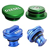 Vinkki Magnetic Diesel Fuel Cap for Dodge, Billet Aluminum Diesel Fuel Cap Accessories and Blue DEF Cap for Dodge Ram Truck 1500 2500 3500 (2013-2017) Combo Pack