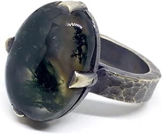 Prezioso anello con preziosa Agata Muschio Naturale proveniente dal Brasile misura 20 mm x 15 mm. Anello.