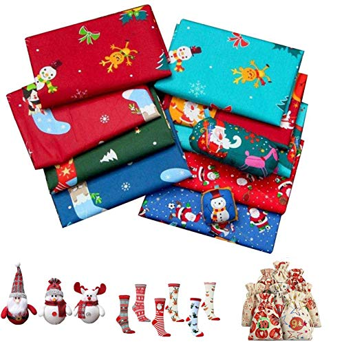 Baumwollstoffe Zum 8 Stück, Weihnachten Baumwollstoff, 50x50 cm Weihnachtsstoff Bündel Quadrate Patchwork Für DIY Craft Sewing Party Supplies