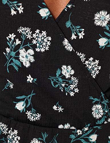 Springfield Vestido Corto Estampado Flores, Negro, S para Mujer