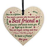 Sfuzwg Best Friendship Gift Heart Plaque for Special Friend, Quote Wooden Hanging Heart Sign for Friend,Women,Her,Him,Mum