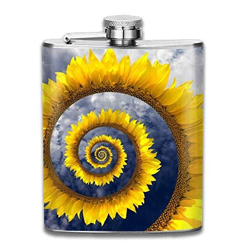 deyhfef Helix Circle Sunflower Fashion Portable 304 Stainless Steel Leak-Proof Alcohol Whiskey Liquor Wine 7OZ Pot Hip Flask Travel Camping Flagon