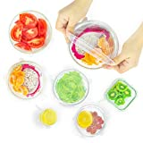 Silicone Stretch Lids Reusable Durable - Pack of 6 Pieces White Expandable Silicone Food Covers Bowls Cups Shape Container Storage Various Sizes Zero Waste to Keep Food Fresh Freezer