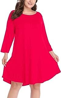 Larace Women's 窶冱 3/4 Sleeve Casual Swing T-Shirt Dresses