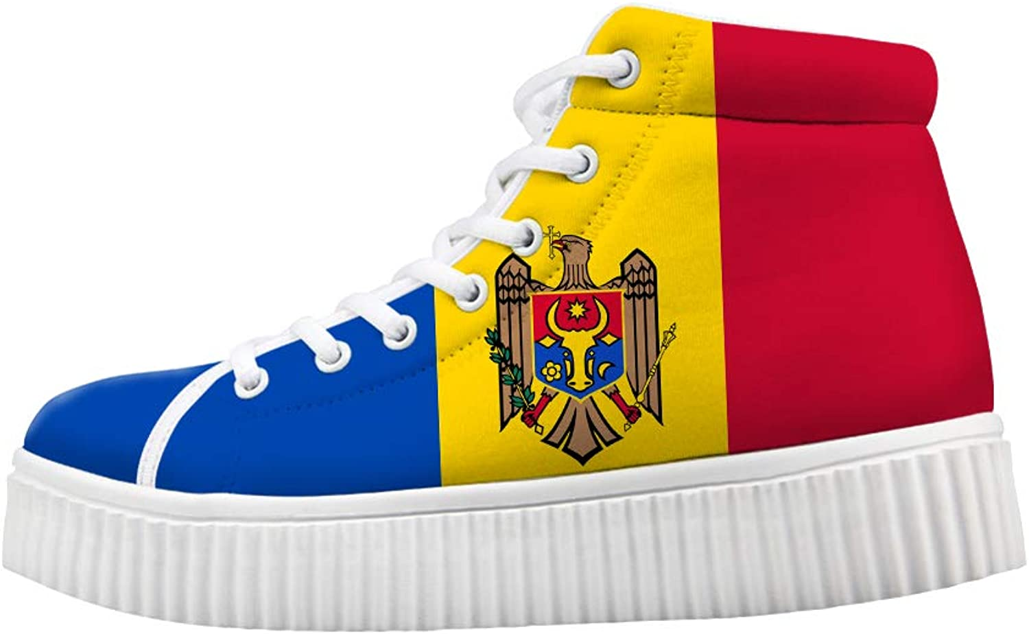 Owaheson Platform Lace up Sneaker Casual Chunky Walking shoes High Top Women Moldova Flag