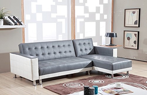 Bestmobilier NEW YORK Divano angolare reversibile e convertibile, dimensioni: 235 x 153 x 77 cm, colore: Bianco/Grigio