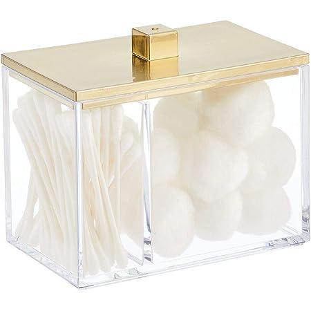 mDesign Boite à cosmétiques avec Deux Compartiments – boîte de Rangement pour Produits de beauté avec Couvercle – Boite en Plastique pour Cotons, Coton-tiges – Couleur Laiton et Transparent