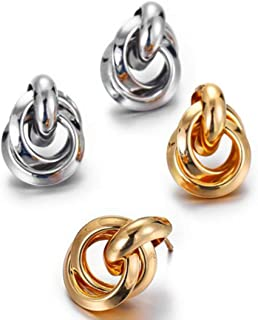 New Knotted Stud Earrings for Women Classic Twisted Small Earrings Cute Solid Statement Jewelry