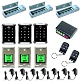 Visionis FPC-5171 Three Door Access Control Outswinging Door 1200lbs Electromagnetic Lock with Visionis Wireless Remote and VIS-3000 Outdoor IP68 Keypad EM Mifare Compatible Kit