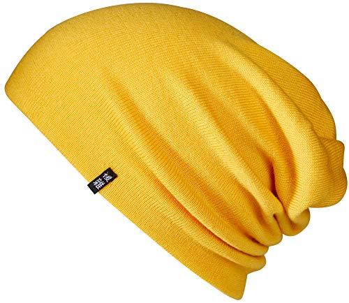 Enter the Complex®Merino Beanie, Merino Mütze aus 100% Merino Wolle, Warm und Dünn, Zweilagig, Damen und Herren, Gelb