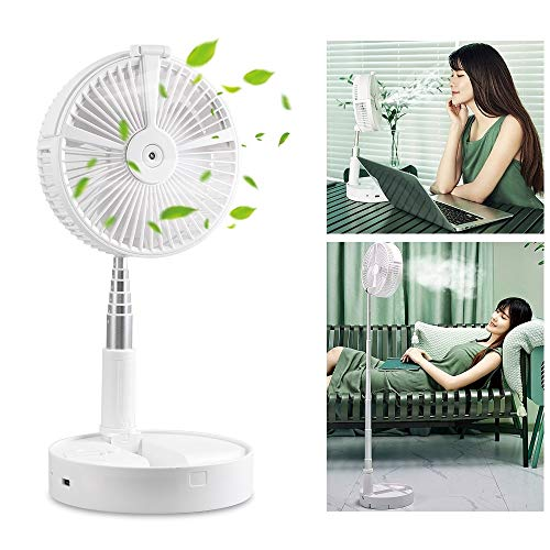 YOUDirect Portable Misting Fan, Telescopic USB Rechargeable Desk Fan with Lights, Multifunctional Personal Cooling Fan with 4 Speed, Adjustable Height, Humidifier for Home Office Travel