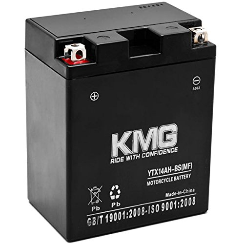 KMG Battery Compatible with Honda 700 VT700C Shadow 1986-1987 YTX14AH-BS Sealed Maintenance Free Battery High Performance 12V SMF OEM Replacement Powersport Motorcycle ATV Scooter Snowmobile
