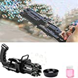 Máquina de Burbujas Gatling, Pistola de Burbujas automática Gatling eléctrica portátil de Ocho Agujeros, Pistola automática de Burbujas no tóxica a Prueba de Fugas (Negro)