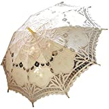 AEAOA Handmade Ivory Lace Parasol Umbrella Wedding Bridal 30 Inch Adult Size