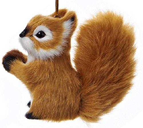 KSA Winter Light Decorative Brown Plush Woodland Squirrel Christmas Ornaments 2.75'